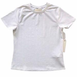 CAPULET REVOLVE Jasmine White Ribbed Shiny T-Shirt